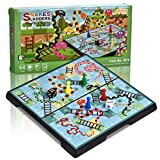 Quadpro Magnetic Chutes Snakes and Ladders Board Games Set with Folding Board Snakes and Ladders Travel Games for Kids and Adults