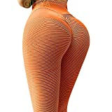 GILLYA Lift Yoga Pants Textured Leggings for Women High Waisted Ruched Butt Booty Lifting Leggings Ruched Tights (Blue, M)