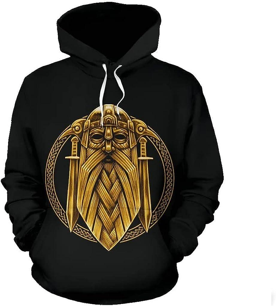 Odin Sword Pullover Hoodie,Viking Raven 3D Print Casual Street Sweater,Unisex Casual Harajuku Hooded Sweatshirt
