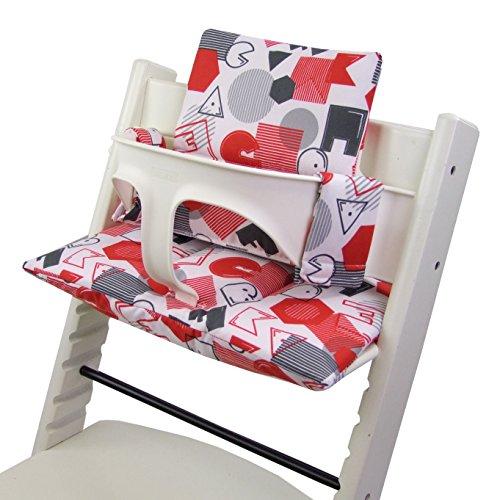 BAMBINIWELT Ersatzbezug, Kissen-Set für Hochstuhl/Kinderstuhl Stokke Tripp Trapp, Sitzverkleinerer (DESIGN) (weiß rot ABC) XX
