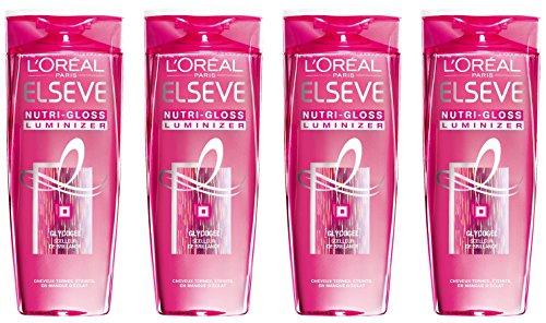 L'Oréal Paris Elsève Nutri-Gloss Luminizer Shampoo High Gloss 250ml – 4er Pack (4 x 250 ml)