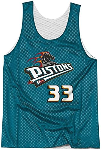 POLIAB Men's Grant Detroit Breathable Basketball Hill Pistons Training Jersey Vest Sportswear #33 Blue Classic Clothing