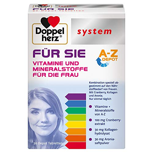 Doppelherz system FÜR SIE – Vitamine, Mineralstoffe und Spurenelemente – abgestimmt auf den Nährstoffbedarf der Frau – 30 Tabletten