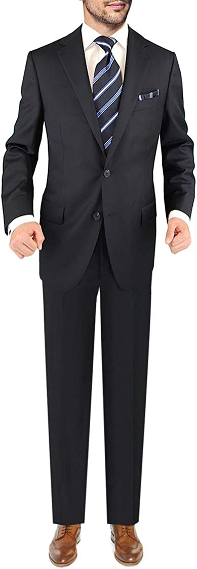 DTI Men's Two Button Business Suit Nano Luxury Stretch 100% Wool 2 Piece Navy
