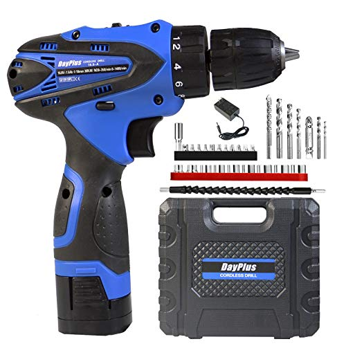Cordless Drill Driver & Electric Combi Drill Kit 1500 mAh 16.8V Compact Li-Ion Battery 18+1 Keyless Clutch 2-SpeeDriver w/Screwdriver,Drill Bits,Carry Box,Varible Speed/Forward/Reverse Switching