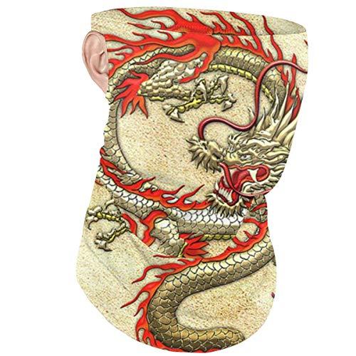 Máscara facial diadema con lazo de oído dragón chino dorado a prueba de viento media cara cubierta bufanda bandana