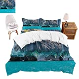 shirlyhome Polyester Bedding Cav Lake General Carrera Chile South Natural Turquoise Purplegrey Ultra Soft Hypoallergenic Twin