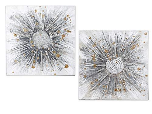 Formano Wandbild Set Strahlen - 2 Wandbilder auf Leinwand weiß Silber Gold je 40 x 40 cm