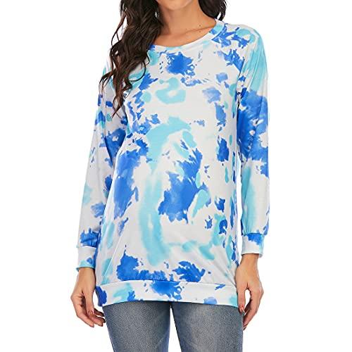 DOLAA Top de camisa de maternidad para mujer Estampado con teñido anudado Ajuste holgado Cuello redondo Mangas largas Camiseta Casual Tops de verano Blusa básica Top de enfermería de maternidad Camisa