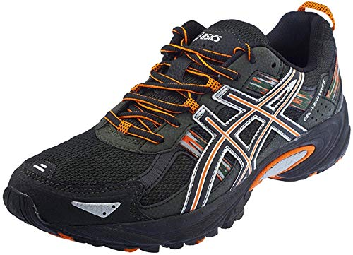 ASICS Men's Gel Venture 5 Trail Running Shoe, (12 D(M) US, Black/Shocking Orange/Duffel Bag)