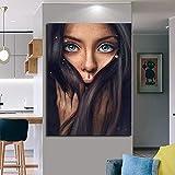 wojinbao Kein Rahmen Mädchen Lange Haar Porträt Leinwand und Frau Gesicht kreative Malerei Wohnzimmer Wand