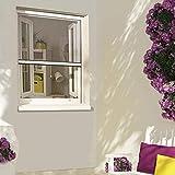MADECOSTORE Moustiquaire enroulable en alu Blanc pour fenêtre - L80 x H130cm - Recoupable