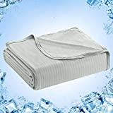 LUXEAR Cooling Blankets for Sleeping Lightweight Summer Blankets for Hot Sleepers - Natural Bamboo Fiber Light Thin Blankets for Bed Breathable Sleeping Blankets for Summer Night Sweats - Gray