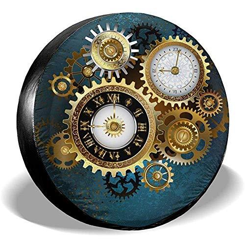 Zwei Steampunk-Uhren mit Zahnrädern Ersatzreifen-Radkappe wasserdichte staubdichte Universal-Reifenabdeckungen - viele Fahrzeuge 14 15 16 17 Zoll