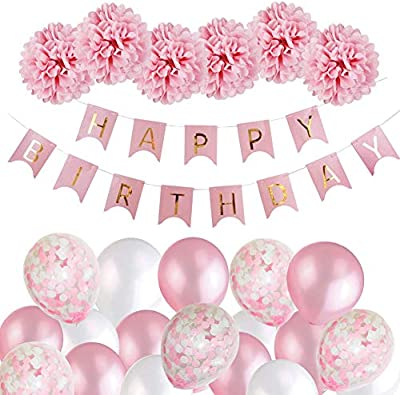Happy Birthday Bunting Banner Balloons Pompoms Set Birthday Party Garland Decor