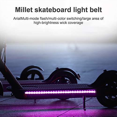 Phonleya Scooter Elettrico LED Strip Light-Night Cycling Impermeabile Pieghevole di Sicurezza Skateboard Lampada a Colori Decorativa per Xiaomi M365 / PRO/ninebot