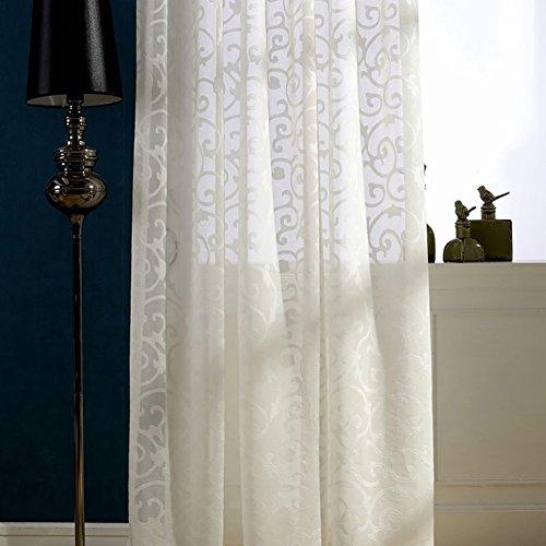 Rideaux et rideaux Sheer Curtains blanc Brodé pour Traitements de fenêtre Produit fini Salon Haut à oeillets Un panneau , white , 1pc(300*270 cm)