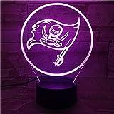 Lixiaoyuzz 3D Nachtlampe Tampa Bay Buccaneers Nachtlampe Schlafzimmer Touch Sensor Kinder Kinder Geschenk Neuheit Team Logo Led American Football
