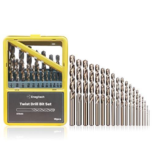 Enegitech Juego de brocas de giro – 19 piezas en tamaño 1/32-25/64 pulgadas para acero, cobre, hierro, madera, aleación de aluminio, paquete de caja de metal
