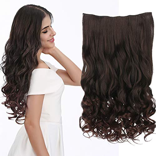 """REECHO 18"""" 1-Pack 3/4 Full Head Curly Wavy Clips in on Synthetic Hair Extensions Hairpieces for Women 5 Clips 4.0 Oz per Piece - Dark Brown"""