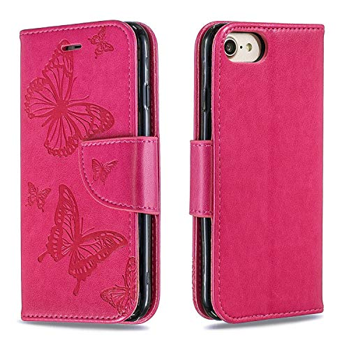 Hülle für iPhone 8/7/iPhone SE 2020 Handyhülle Schutzhülle Leder PU Wallet Bumper Lederhülle Ledertasche Klapphülle Klappbar Magnetisch für Apple iPhone7/iPhone8 - ZIBF080026 Rosa Rot