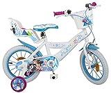 Pik&Roll Reine Des Neiges - Bicicleta Infantil de 14 Pulgadas, Unisex, Color Blanco y Azul