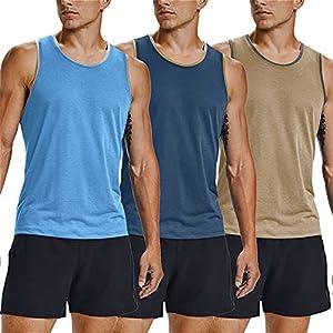 COOFANDY Men's Gym T-Shirts Sleeveless Pack of 3 Gym Workout Tops Short Sleeve Muscle Bodybuilding Tank Tops, Light blue/grey blue/khaki, XL