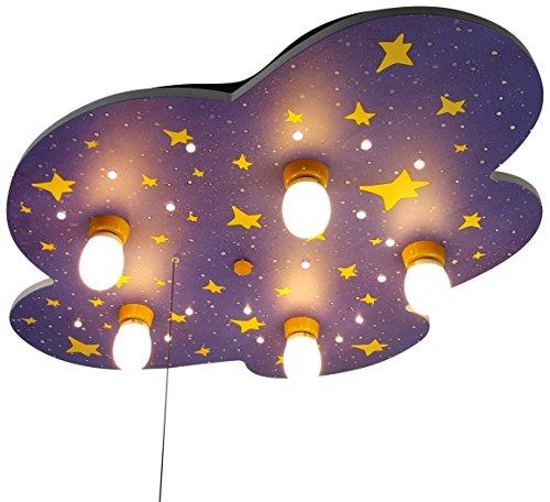 Niermann Standby 643 - Plafoniera da soffitto con cielo notturno in legno, 40 W, E14, multicolore, 74 x 57 x 7 cm