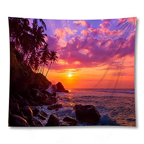 Tapiz by BD-Boombdl Impresión 3D Paisaje Natural Puesta de sol Resplandor Paisaje marino Árbol de coco Arte decorativo Colgante de pared Decoración del hogar 59.05'x78.74'Inch(150x200 Cm)