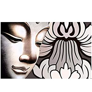 DAQIANSHIJIE Poster Buddha with Lotus Flower Brown & Cream Art Print Silk Poster Home Wall Decor -60X90Cmx1 No Frame