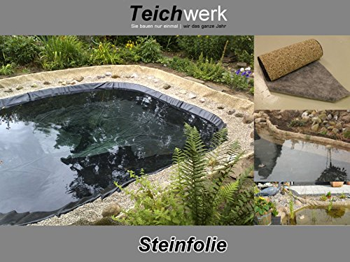 Teichwerk Steinfolie Natur 40 cm breite x Wunschlänge Kiesfolie (1 (40 cm, Natur)
