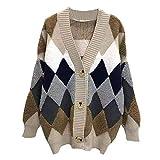 NHFGF Cárdigans suéter de Cuadros Gruesos Abiertos Largos de Punto para Mujer suéteres otoño-Invierno Casual Cuello en V Manga Puff suéter