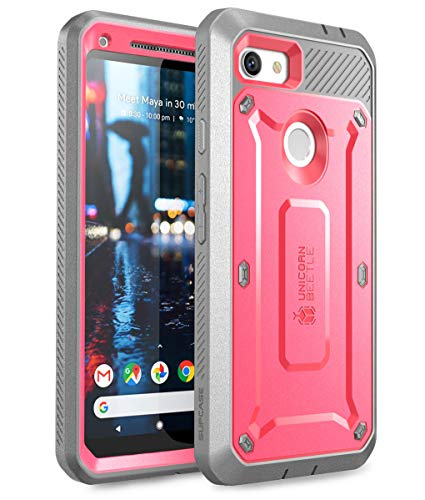 SUPCASE Unicorn Beetle Pro Series Case for Google Pixel 3a XL Case, Full-Body Rugged Holster Case with Built-in Screen Protector for Google Pixel 3a XL 2019 Release (Pink)