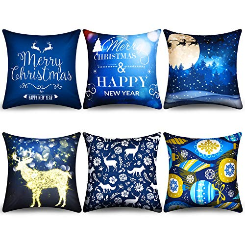 Boao 6 Pieces Christmas Pillow Cover Merry Christmas Throw Cushion Covers Tree Reindeer Star Pillow Case for Party Home Decoration, 18 x 18 Inch (Set 3)