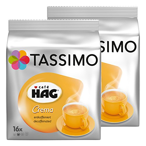 Tassimo Café HAG Crema Entkoffeiniert, Kaffeekapsel, Koffeinfreier Kaffee, Röstkaffee, 32 T-Discs