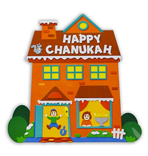 Izzy 'n' Dizzy Foam Chanukah House Kit - Self Adhesive Peel and Stick Foam - Hanukkah Arts and Crafts and Games