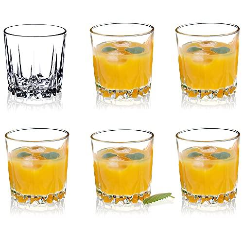 KADAX Bicchieri in vetro di alta qualità, set da 6 pezzi, per acqua, succhi di succo, a parete spessa, per acqua, drink, succhi, feste, cocktail, bevande (basse, 300 ml)