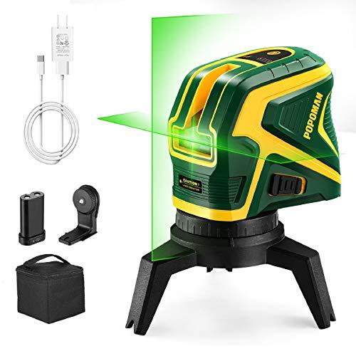POPOMAN Nivel láser verde con 2 puntos de conexión, Carga USB, Línea láser cruzada autonivelante 25 m, Función de pulso, Base magnética giratoria incluida - MTM320B