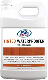 Rainguard Rustic Redwood Tinted Waterproofer Penetrating Silane/Siloxane Formulation For Year-Round Protection With a translucent finish For unpainted Concrete, Brick, Block, Wood, Stucco, Stone 1 Gal
