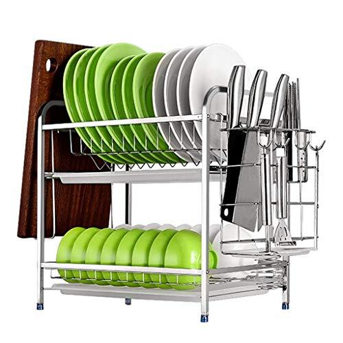Talladora de plato Estante de secado Detail 304 Acero inoxidable 2 Nivel de plato de 2 niveles con tablero de drenaje, soporte de utensilios, soporte de tabla de cortar, cuchillo y reposabrazos de ves