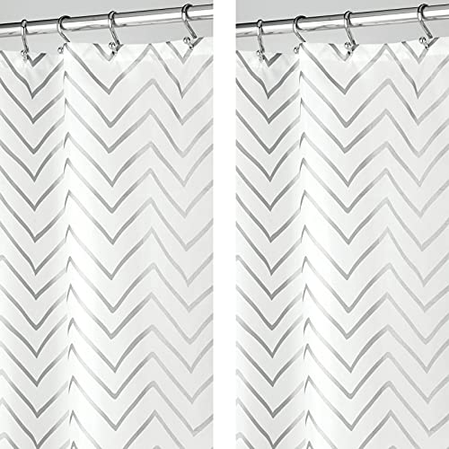 """mDesign Long Decorative Metallic Pattern, Water Repellent, Fabric Shower Curtain for Bathroom Showers and Stalls, Machine Washable - Chevron Zig-Zag Print, 72"""" x 84"""" - 2 Pack, Silver/White"""