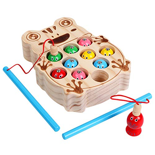 Comie Holz Fischen Spielzeug, Angelspiel Fisch Angeln Kinderspielzeug Pädagogisches Hölzernes Vortäuschen Die Katzen Magnetisches Brettspiel für Kindergeschenk