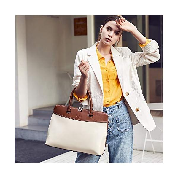 CLUCI Briefcase for Women Oil Wax Leather 15.6 Inch Laptop Business Vintage Slim Ladies Shoulder Bag 2