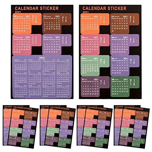 LUTER 2021 Kalender Index Tabs Stickers Monatsplaner Selbstklebend Kalender Aufkleber für Bullet Journal, Notebook, Schule Agenda (10 Blatt, 65 Tabs)