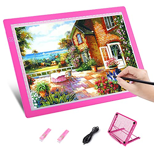 Diamond Painting A4 Light Pad, HOHOTIME Portable Drawing Light Box, Adjustable USB Power Drawing Copy Board Table for Artists Drawing, Animation, Sketching, Pink