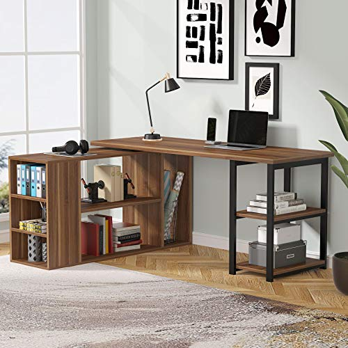 L-Shaped Computer Desk, LITTLE TREE 59 Inch Rotating Executive Office Desk with Shelves & File Cabinet, Modern Corner Gaming Writing Desk for Home Office Study (Dark Walnut)