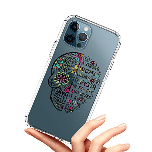Tnarru iPhone 12 Pro Max Case Clear Sugar Skull for Women Pattern Soft TPU Bumper Shockproof Scratch-Resistant Full Body Protective Crystal Case for iPhone 12 Pro Max 6.7 Inch