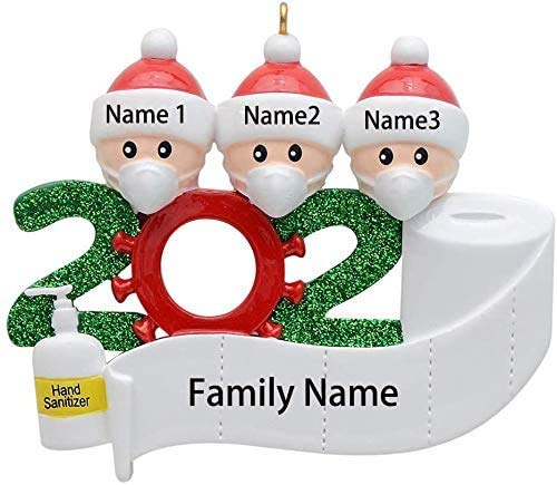 DAWNDEW Family 2020 Christmas Ornament with Face Hand Toilet Paper Personalized Xmas Gifts for Friends, Todders Kids (3 People)