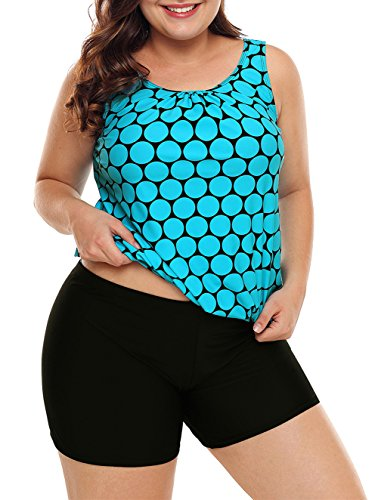 EVALESS Woman Summer Polka Dot Tankini Top with Blue Boyshort 2 Pieces Push Up Swimsuit Plus Size XX-Large Blue