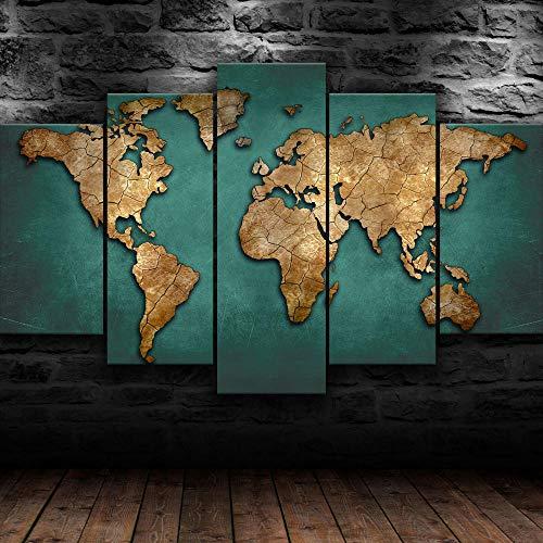 AWER 5 Piezas Cuadro en Lienzo Global världskarta Modernos Lienzo Decorativo para Pared, Cuadros Decoracion para Pasillo Salon dormitorios XXL 80x150 cm con Marco